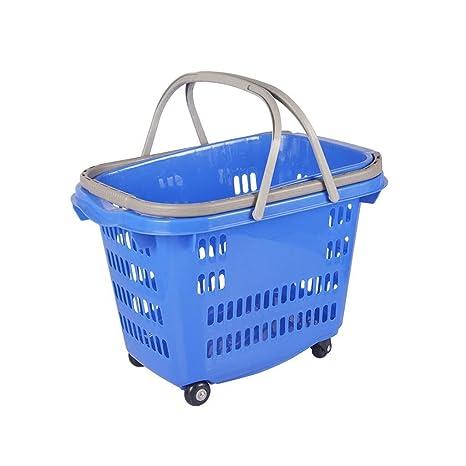 Carrito de cuatro ruedas Carrito de compras Engrosamiento Incrementos Supermercado Centro comercial Cestas de plástico Tienda