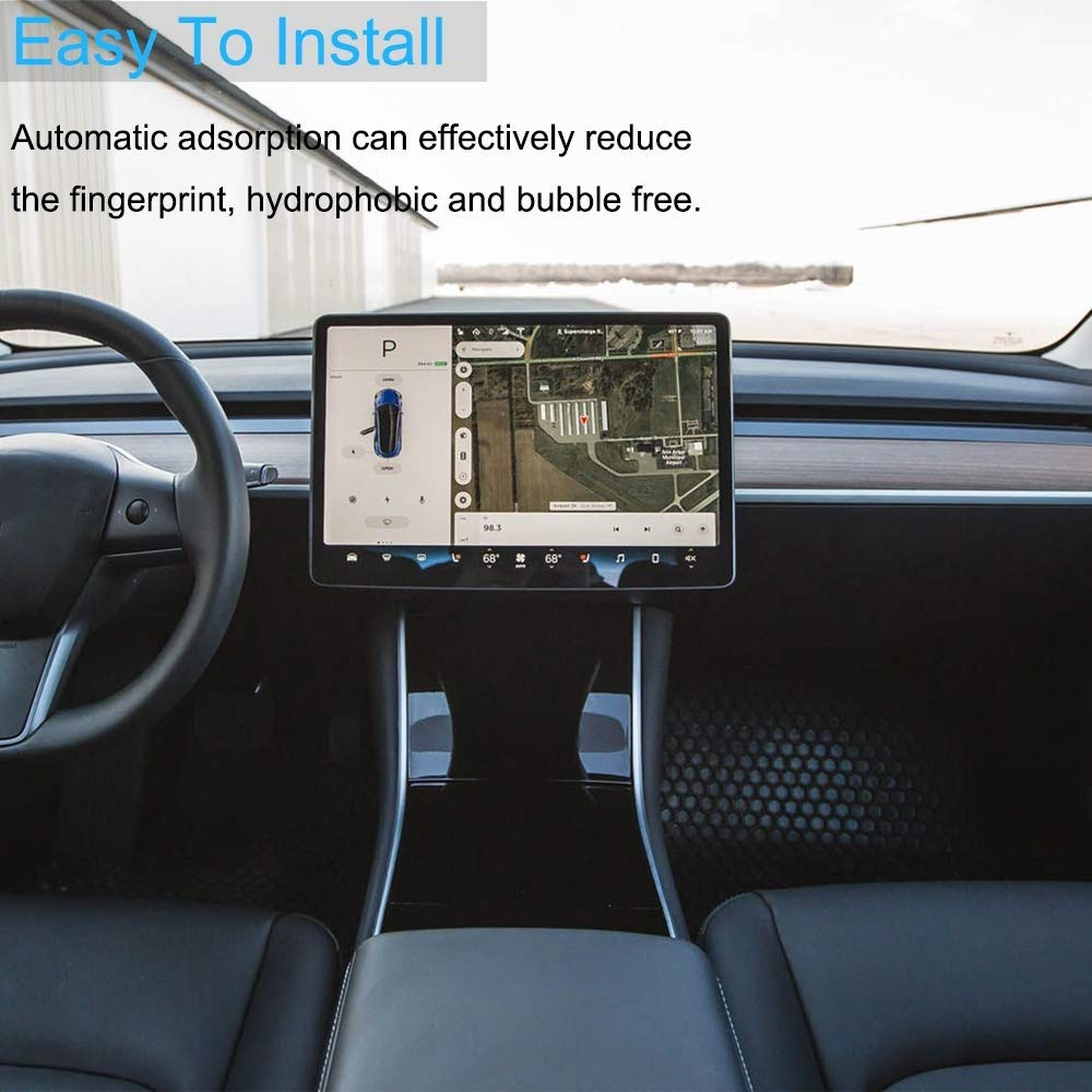 TOOGOO Center Control Contact Screen Car Navigation Tempered Glass Screen Protector 9H Anti-Scratch and Shock Resistant for Model 3 Screen Cover P50 P65 P80 P80D 15