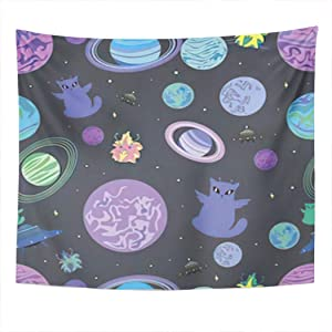Fun Dinosaurs Tapestry Wall Hanging Wall D¨¦cor Blanket for Bedrooms Living Room Dorm Home Decor AestheticCosmos Doodle Galaxy Space Planet Cat Black - 59