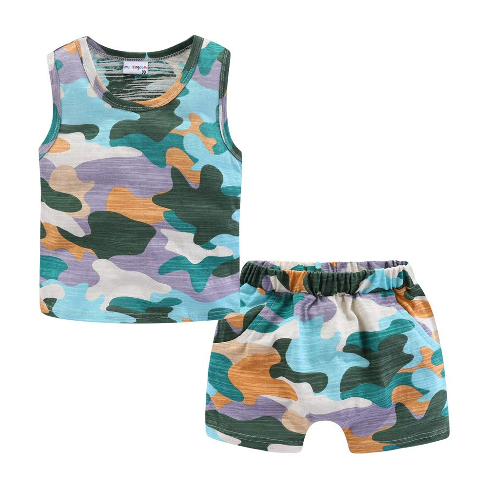Mud Kingdom Little Boys Outfits Camouflage Tank Top and Short Clothes Set