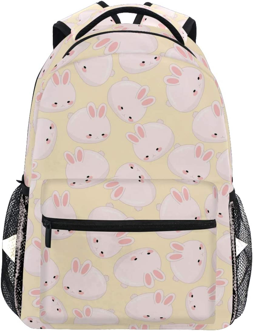 Oarencol Cute Pink Bunny Orange Peach Lovely Rabbit Cartoon Animal Backpacks Bookbags Daypack Travel School College Bag for Womens Girls Mens Boys Teens