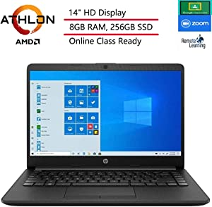 "(Renewed) HP 14 14"" Laptop Computer, AMD Athlon 3050U Up to 3.2GHz (Beat i3-7130U), 8GB DDR4 RAM, 256GB SSD, HDMI, Black, Windows 10 Home S, Online Class Ready, Webcam, Microphone, SPMOR Mouse Pad"