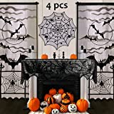 Pawliss Halloween Decorations Indoor, Black Lace Party Decor, Bat Window Curtains, Spider Web Fireplace Mantel Scarf Cover, Spiderweb Table Topper Tablecloth, Set of 4