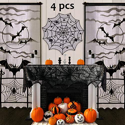 Halloween Dinner Party Martha Stewart (Pawliss Halloween Decorations Indoor, Black Lace Party Decor, Bat Window Curtains, Spider Web Fireplace Mantel Scarf Cover, Spiderweb Table Topper Tablecloth, Set of)
