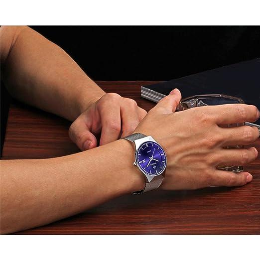 WWOOR Men's Analog Quartz Watch Ultra Thin Dial Date Stainless Steel Mesh  Belt Waterproof