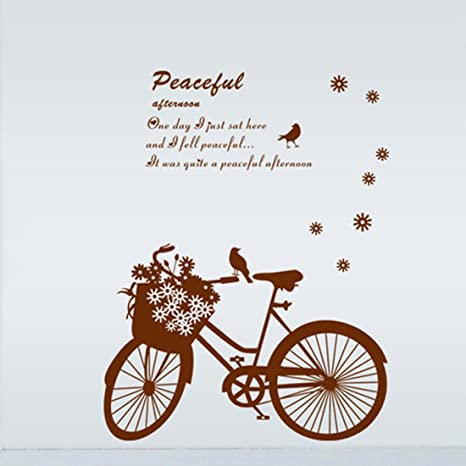 Bicicleta romántica Bird letras inglesas Etiqueta de la pared de ...