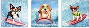 """B BLINGBLING Dog Canvas Wall Art: Surfing Dogs Bathroom Wall Decor Teen Room Decor with Frame Easy to Hang 3 Pieces (12""""x12""""x3 Panels)"""