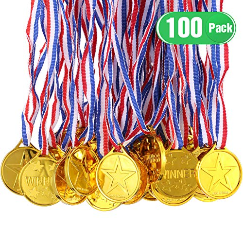 Gejoy 100 Packs Gold Plastic Winner Medals Kids Golden Winner Awards Medals