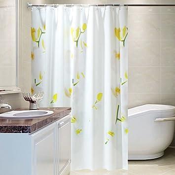 White Tulip Shower CurtainThicken Waterproof Mildew Curtain Bathroom Partition Curtains Door G 180x200cm71x79inch