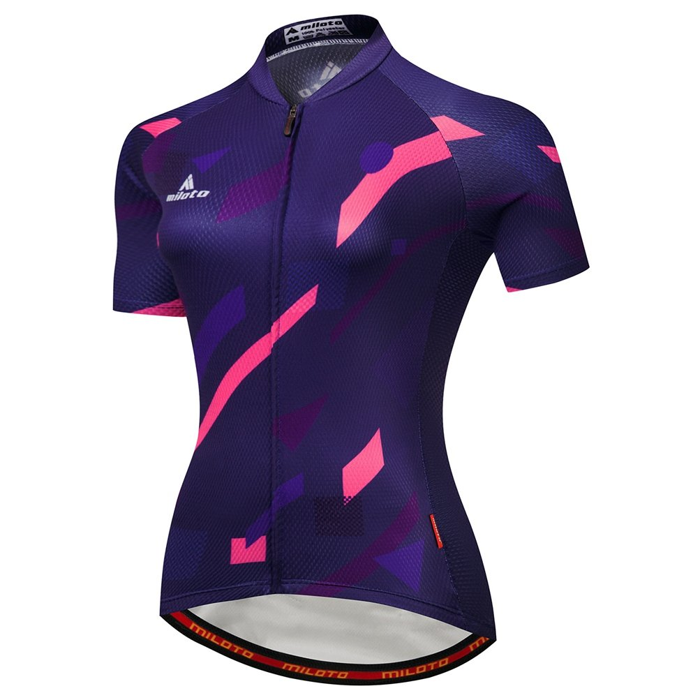 Uriah Women's Cycling Jersey Short Sleeve Reflective Pink Purple Size M(CN) by Uriah