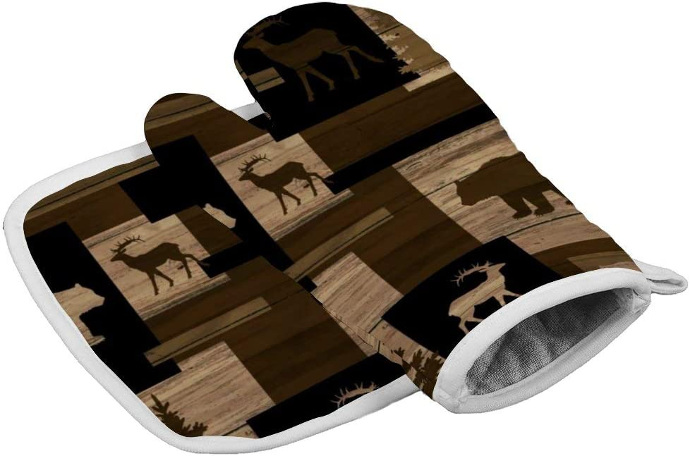 Thewar Rustic Wood Bear Moose Pattern Unisex Heat Resistant Polyester Insulation Gloves Oven Mitts and Pot Holder(2-Piece Sets)