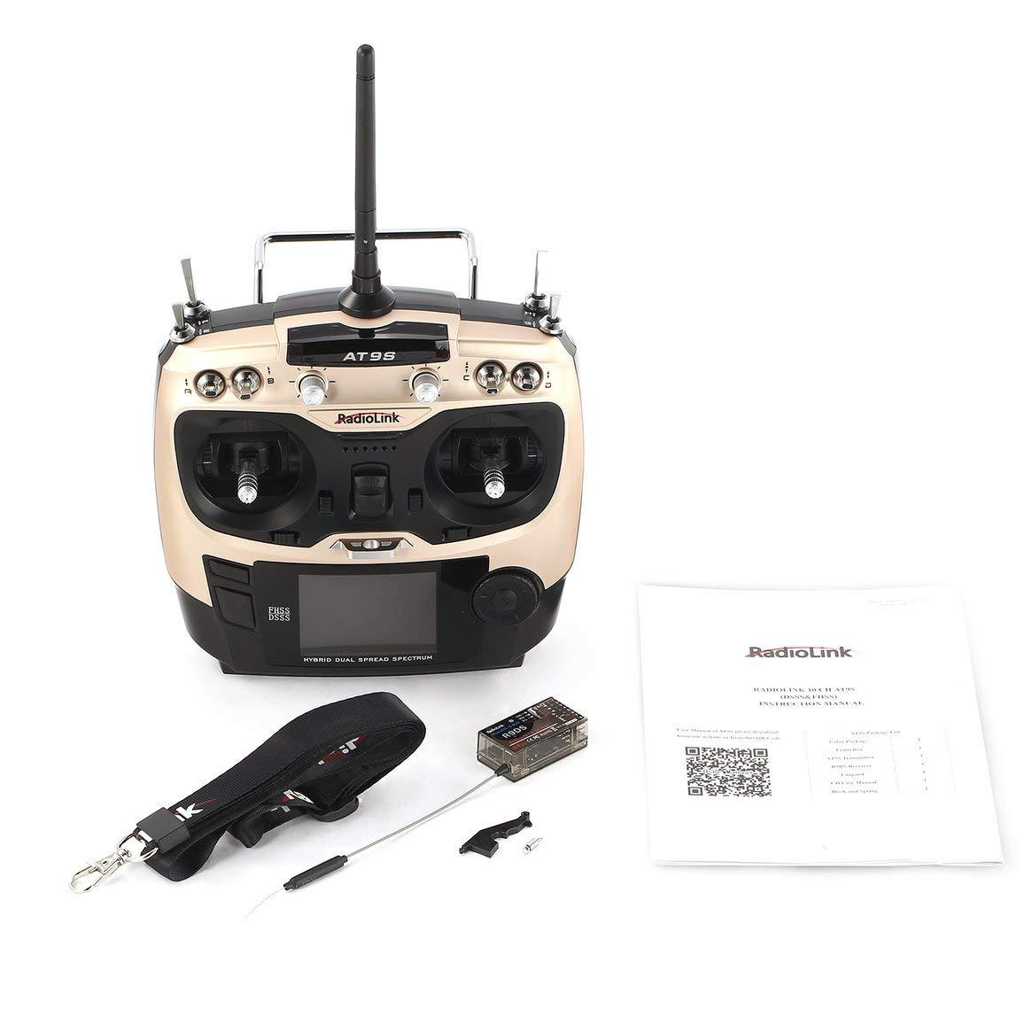 Delicacydex Upgrade Radiolink AT9S 2.4G 10CH Sender Radio mit R9DS Empfänger DSSS & FHSS für RC Hubschrauber Multicopter Starrflügler Modus 2