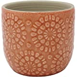 """Amazon Brand – Stone & Beam Small Floral-Embossed Planter, 4.3""""H, Arabesque Coral Pink"""
