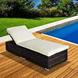 Outsunny New Garden Furniture Rattan Sun Recliner Lounger - Brown