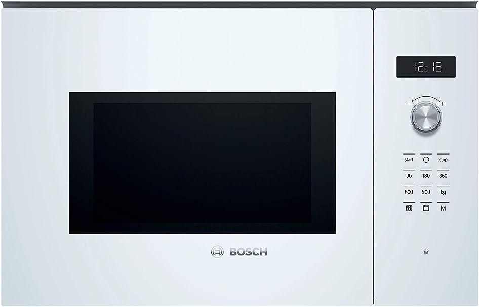 Oferta amazon: Bosch Serie 6 BEL554MW0 - Microondas integrable, 382 x 594 x 388 mm, Potencia 900 W, Con grill de 1200 W, 25 litros de capacidad, Color blanco
