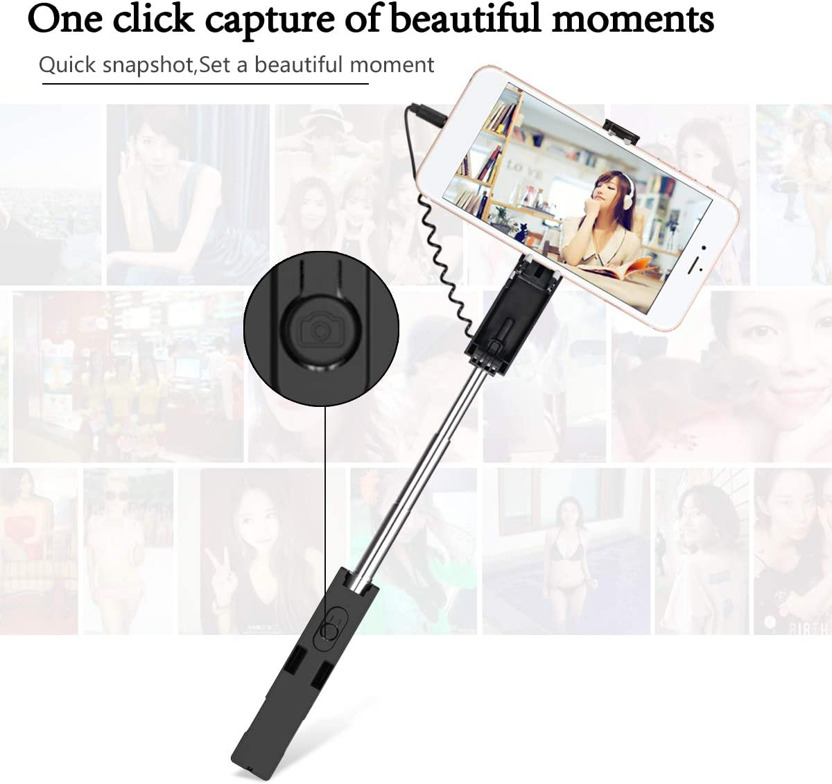 Mini Selfie Stick Huawei and Other Android Phone NIEBAIY No Bluetooth No Battery Selfie Sticks Compact Design for iPhone Samsung