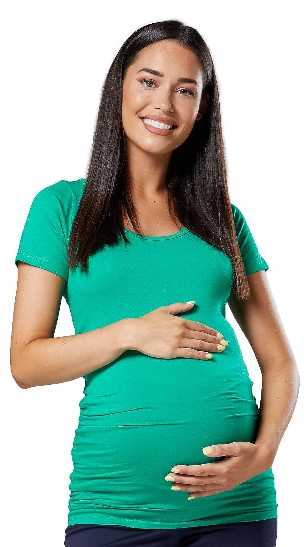 Happy Mama 999p Donna Maglietta Premaman Top Elastico T-Shirt Maniche Corte