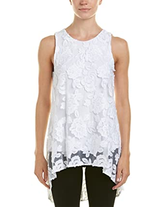 01ee78df73ad9e Vince Camuto Women s Sleeveless High-Low Hem Floral Mesh Blouse at Amazon  Women s Clothing store