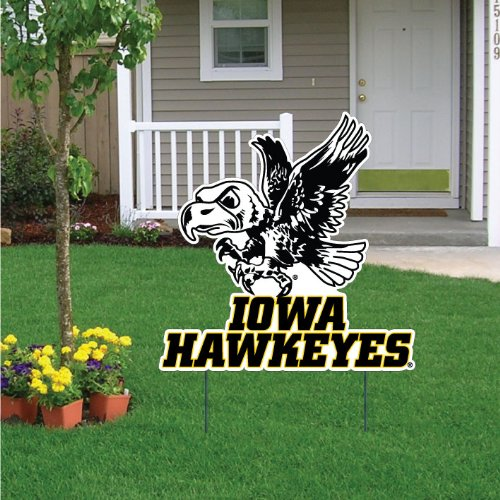 "VictoryStore Yard Sign Outdoor Lawn Decorations - University of Iowa Traditional Herky Yard Sign - 24"" W X 24"" H, W2 Stakes"