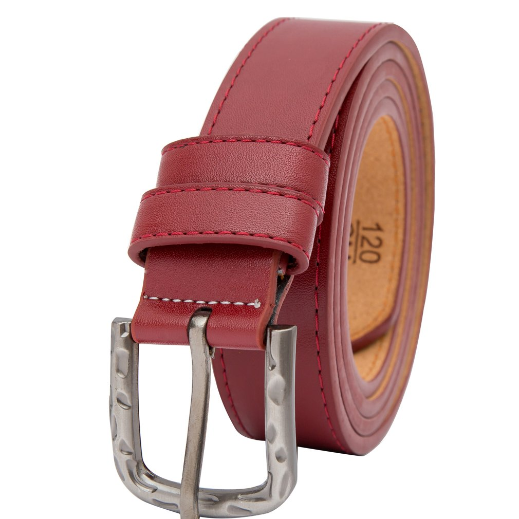 Beltox Fine Women's Solid Stitched Belt 1.1 Wide Alloy Buckle with Gift Box