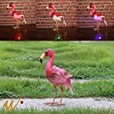 W-DIAN Solar Light Metal Flamingo Seven Color Changing Lights Outdoor RGB LED Garden Light Patio, Path, Lawn, Garden, Yard Decor