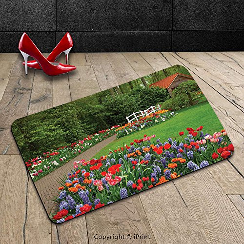Custom Machine-washable Door Mat Country Decor Collection A Spring Garden with Forest Hut Small Bridge Plants Flowerbeds and Walkway Green Purple Indoor/Outdoor Doormat Mat Rug (Diy Tiki Hut)