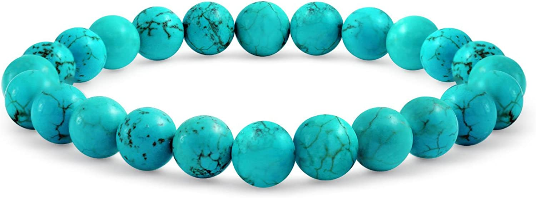 Bling Jewelry Estabilizado Turquesa Bola 8Mm Abalorios Apilables De Piedras De Hebra Estiramiento De Pulsera para La Mujer Adolescente