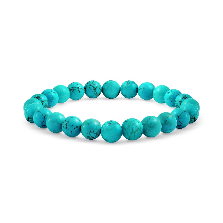 Gemstone Blue Enhanced Turquoise Bead Stretch Bracelet 8mm Bling Jewelry YP-TQS2040B-1