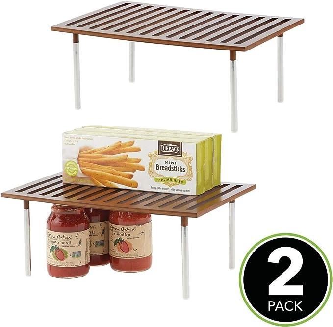 mDesign Juego de 2 estanterías de cocina – Prácticas baldas de madera de bambú y acero – Elegante organizador de armarios para ordenar despensas, encimeras y más – marrón: Amazon.es: Hogar