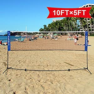 Goplus Portable Badminton Net Beach Volleyball Tennis Competition Training Net w/ Carrying Bag by Superbuy