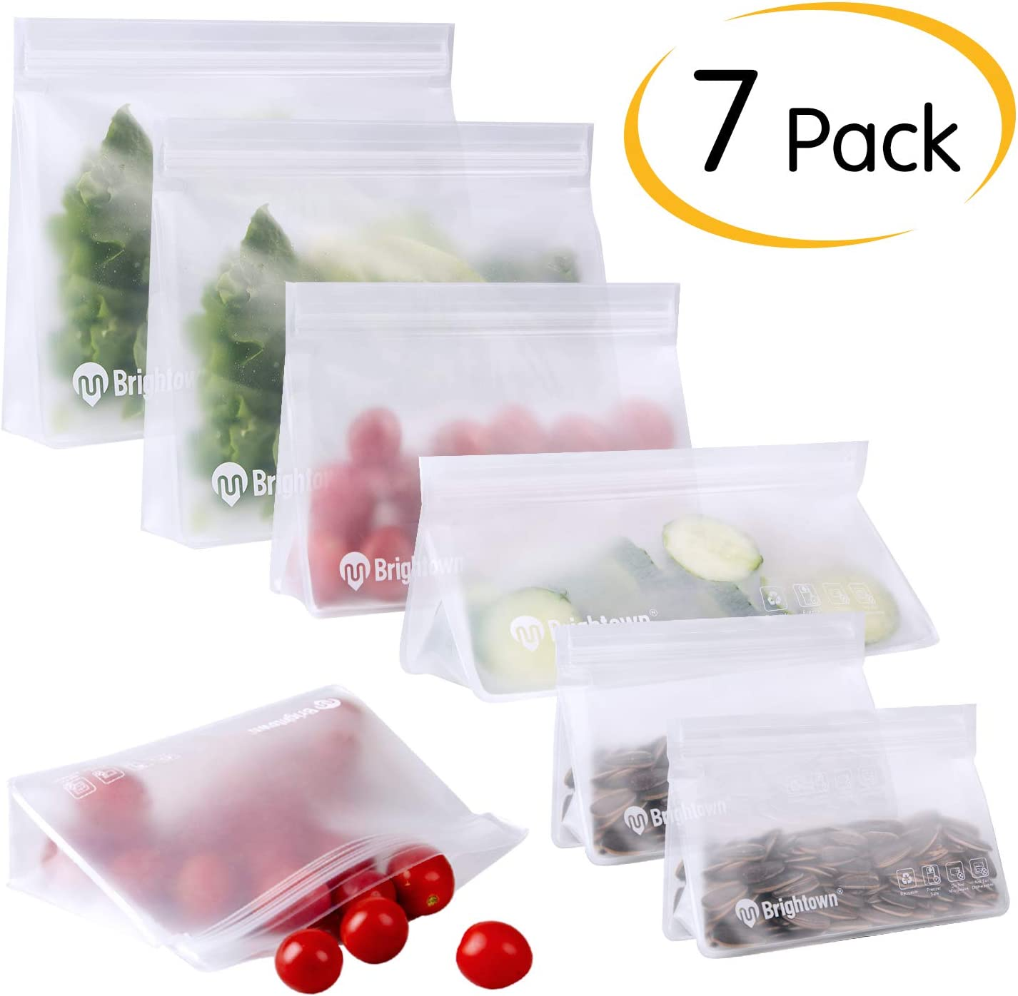 Brightown Reusable Sandwich Bags, 7 Packs Leakproof Reusable Storage Bags Stand-up BPA-Free Ziplock Bags for Food Storage Home Organization Snack Lunch Bag for Travel
