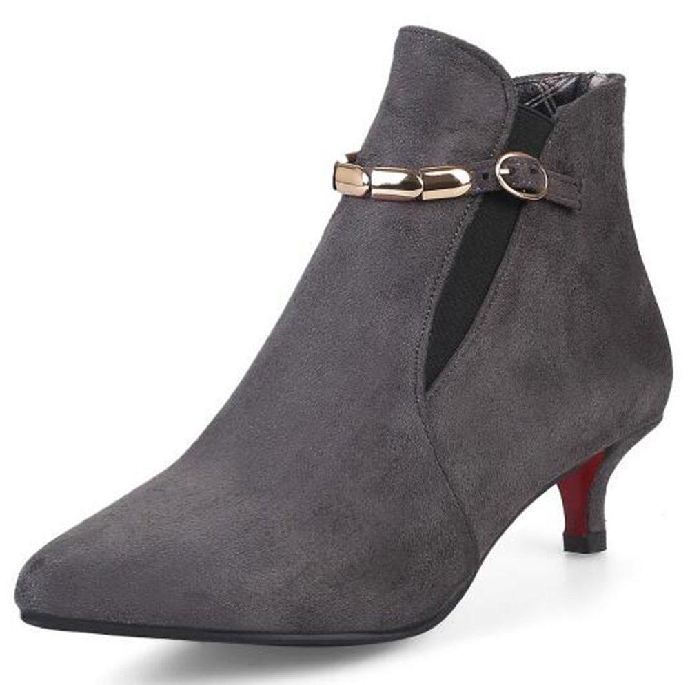 Mofri Women's Dressy Faux Suede Buckle Strap Elastic Pointed Toe Kitten Heel Ankle Booties (Gray, 7.5 B(M) US)
