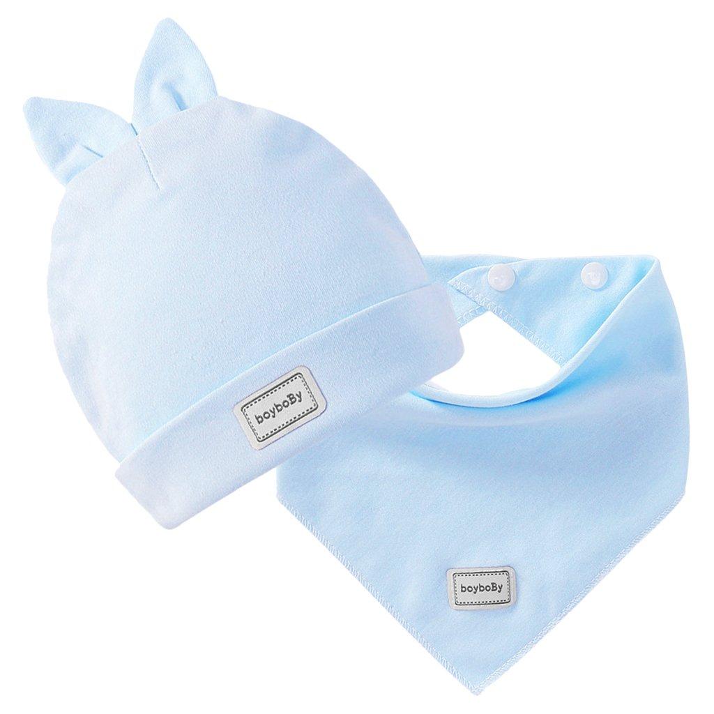 Homyl Kit Bonnet Beanie avec Bavoir Triangle en Coton pour Naissance Bébé Enfant Fille Garçon - Bleu