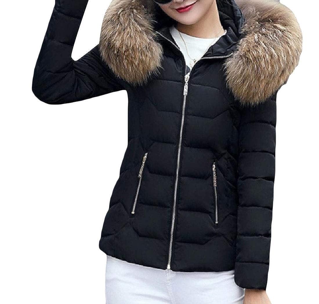 YUNY Womens Faux-Fur Trim Outwear Hooded Warm Cotton Wadded Jacket One M