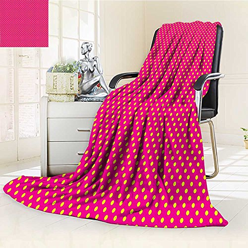 YOYI-HOME Cotton Thermal Duplex Printed Blanket,Girls Polka Dots Vintage Textured Classical Lovely Feminine Nostalgic Design Hot Pink Yellow Soft and Breathable Cotton/W47 x H31.5