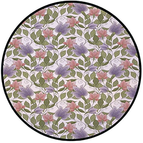 Printing Round Rug,Floral,Pastel Tone Tulip Flower Aged Ottoman National Symbol Petals Image Mat Non-Slip Soft Entrance Mat Door Floor Rug Area Rug For Chair Living Room,Coral Lilac and Olive Green