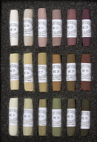 Jack Richeson Unison Brown Earth Pastel Sticks, Set of 18, Shades 19 to 36 by Jack Richeson
