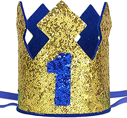 Amazon.com: maticr Sparkly Baby Boy primer cumpleaños corona ...