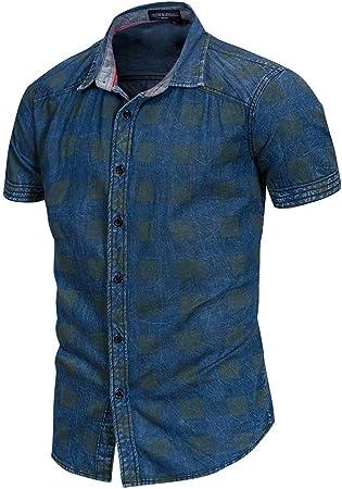 Fanuosums Camisas para Hombre Regular Fit, Camisa Vaquera con Botones de Corte Slim y Manga Corta de algodón clásico para Hombres (Color : Azul, tamaño : XXXL): Amazon.es: Hogar