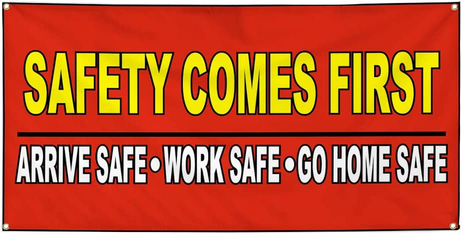 Set of 3 Vinyl Banner Sign Safety Comes First Red Yellow Lifestyle Marketing Advertising Red 4 Grommets Multiple Sizes Available 24inx60in