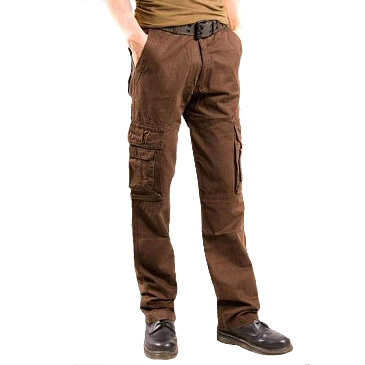 Attriactive Men Cotton Pockets Overalls Washable Outdoor Long Trousers Pants