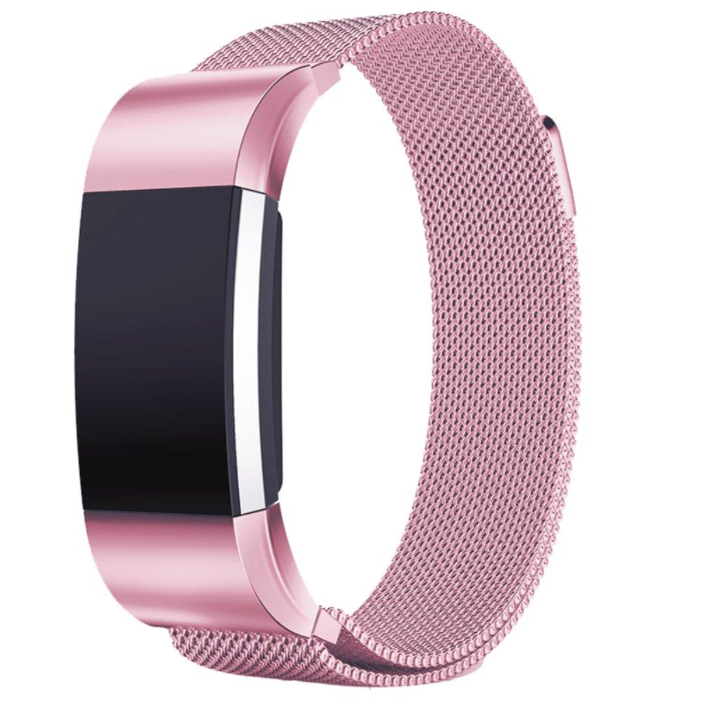 バンド for Fitbit Charge 2 ステンレス鋼バンド 交換ベルト for Fitbit Charge 2 ユニークなマグネットロック付き (機械がない) B07DGYWKV6 サクラピンク(Sakura Pink) Large