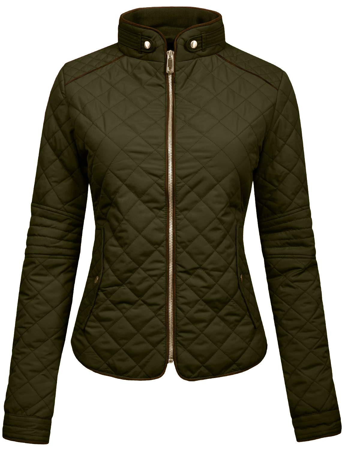 Ne People Womens Lightweight Quilted Zip Jacket, OLIVE, Small