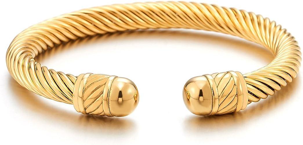 Unisex Elastic Adjustable Stainless Steel Bangle Bracelet for Men and Women Polished