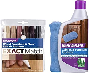 Rejuvenate New Improved Colors Wood Furniture and Floor Repair Markers & Cabinet and Furniture Restorer 13oz Fills in Scratches Seals and Protects with Mitt