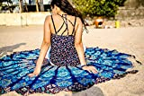 INDIAN CREATIONS - 72'' Mandala Round Tapestry Hippie Indian Mandala Beach Roundie Picnic Table Throw Hippy Bohemian Spread Boho Gypsy Cotton Tablecloth Beach Towel Meditation Round Yoga Mat - (Blue)