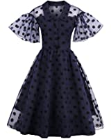 Wenyujh Womens Vintage Dress Dot Chiffon Puff Sleeve V Neck Retro Summer Dress Vestido
