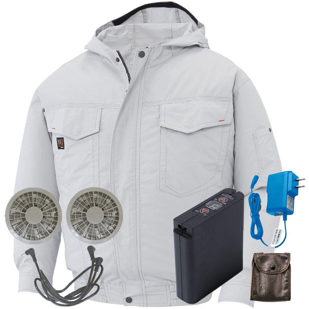 空調服 セット[KU91410ブルゾン+FAN2200グレーファン+LI-ULTRAIリチウムバッテリー] B0785JY335 4L|6 シルバー 6 シルバー 4L