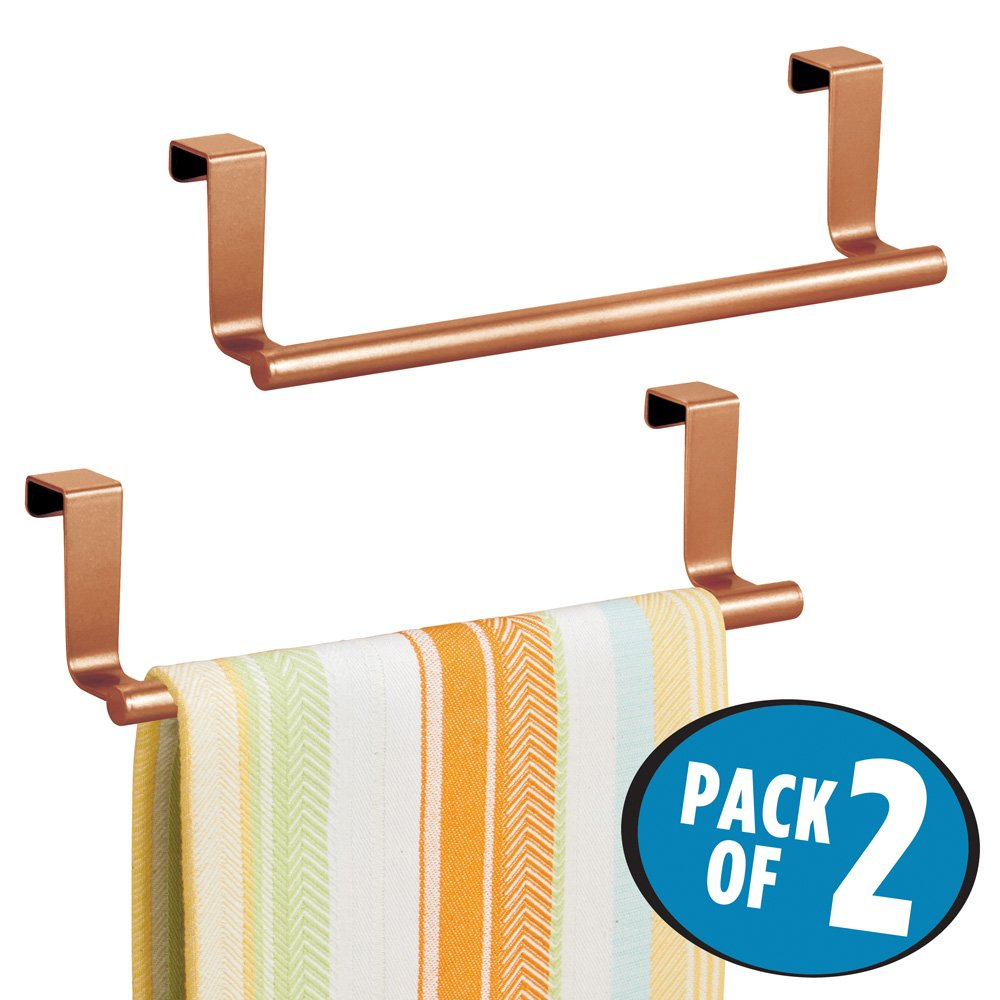 mDesign Decorative Kitchen Over Cabinet Towel Bar - Hang on Inside or Outside of Doors, Storage and Display Rack for Hand, Dish, and Tea Towels - 9'' Wide, Strong Steel Design in Copper