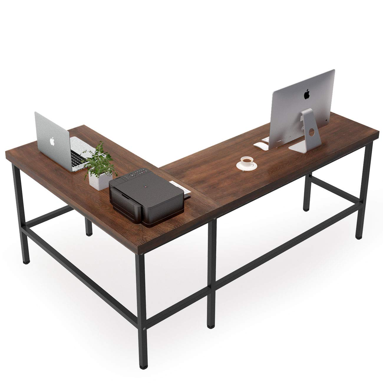 Tribesigns Solid Wood L-Shaped Desk, Rustic Corner Computer Desk, PC Laptop Desk Sturdy Gaming Table Workstation for Home Office by Tribesigns